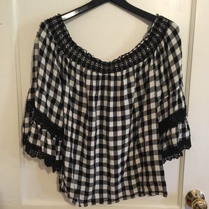 Off the shoulder black and white peasant blouse